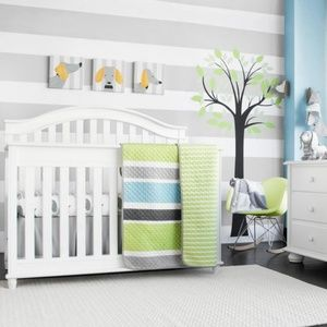 EUC nursery set...Grey Blue Green stripe